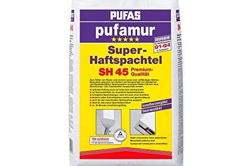 Pufas SH45 pufamur Super Haftspachtel Kunstharzverguetete faserverstaerkte Gipsspachtelmasse fuer innen weiss 500x330 - Pufas SH45 pufamur Super-Haftspachtel Kunstharzvergütete, faserverstärkte Gipsspachtelmasse für innen, weiß, 25kg